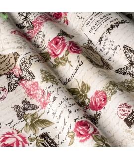 Портьерная ткань надписи розовая