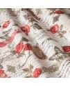 Портьерная ткань цветы, надписи красная