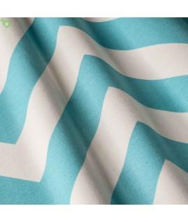 Ткань с принтом шеврон, голубая