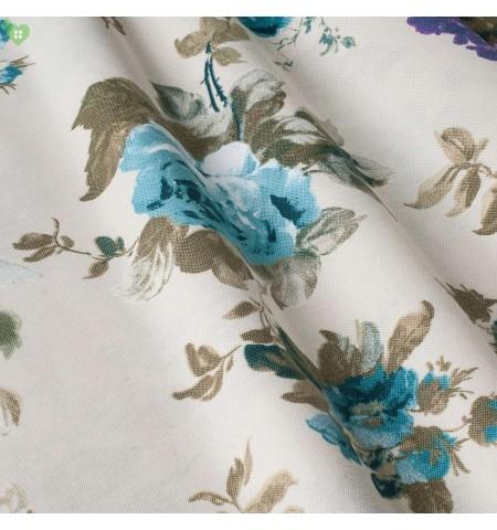 Ткань с очень крупным рисунком, цветы лазурные