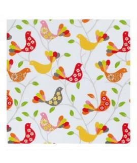 Декоративная ткань, птички красные