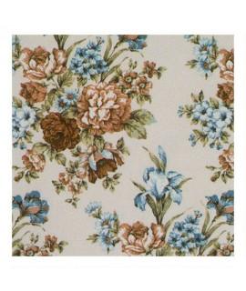 Портьерная ткань соцветия голубые с бежевым