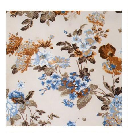 Ткань с принтами цветов голубая