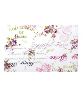 Ткань тексты и цветы светло-розовая