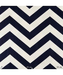 Ткань с принтом шеврон, синяя