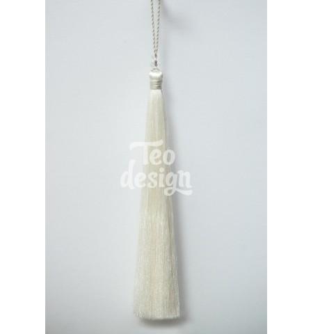 Декоративная кисточка, белая длинная