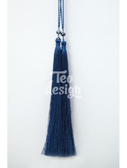 Декоративная кисточка синяя длинная