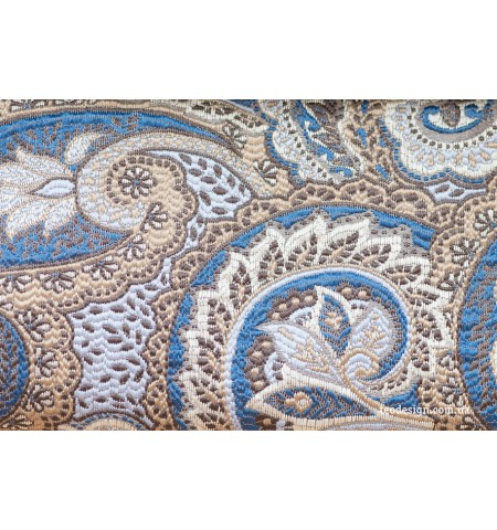 Жаккард мебельный с узором пейсли синий