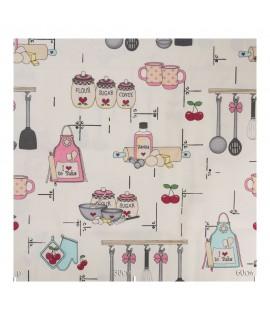 Ткань кухонная тематика розовая