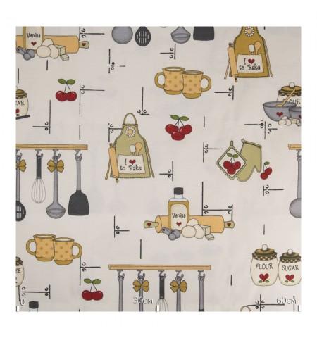 Ткань кухонная тематика бежевая