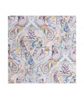 Ткань декоративная узоры голубая гамма