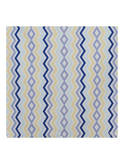 Ткань зигзаг желтый с голубым