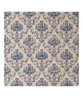 Портьерная ткань небольшие вензеля синие