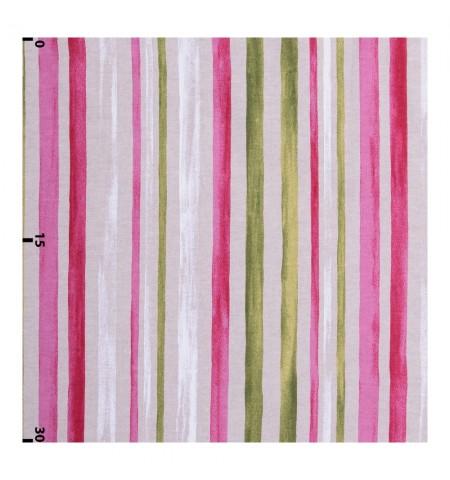 Декоративная ткань акварельные полосы розовые