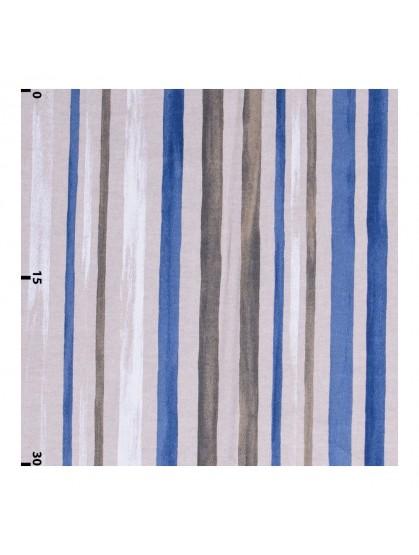 Декоративная ткань акварельные полосы синие