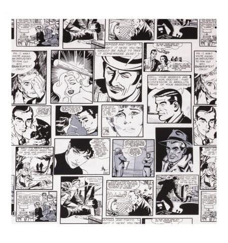 Ткань с комиксами черно-белая
