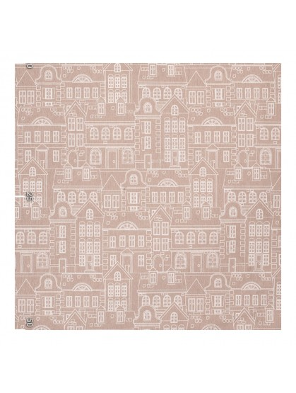 Нарисованные домики декоративная ткань