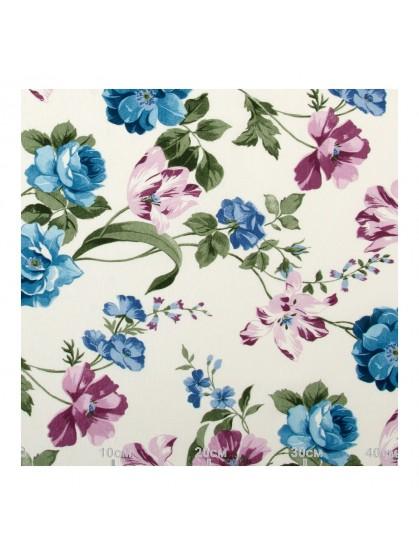 Ткань флора голубая