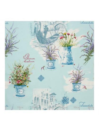 Декоративная ткань ботаника лазурная