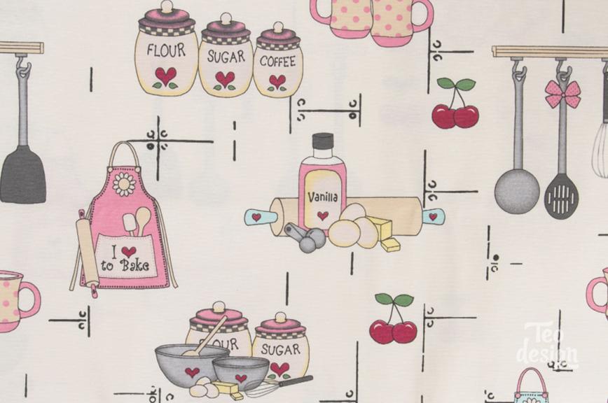 Ткань с кухонным принтом