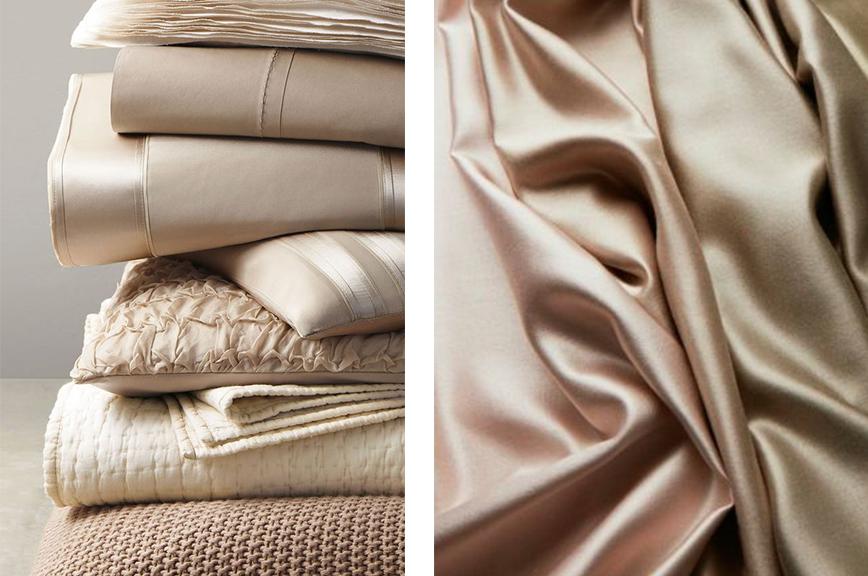Домашний текстиль из атласных и шелковых тканей