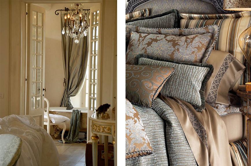 Спальная комната с шикарным текстилем