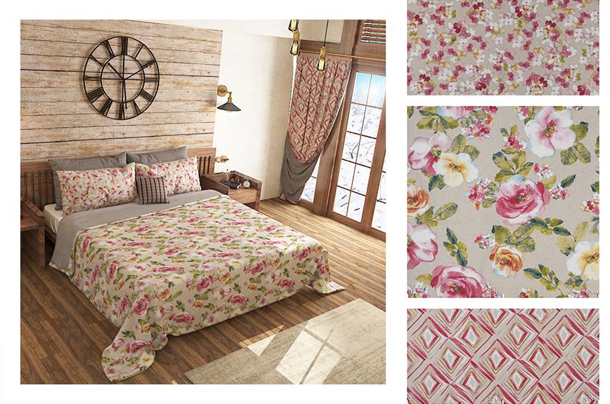 Цветочный и геометрический принт в оформлении спальни